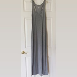 gray and back striped jersey maxi dress